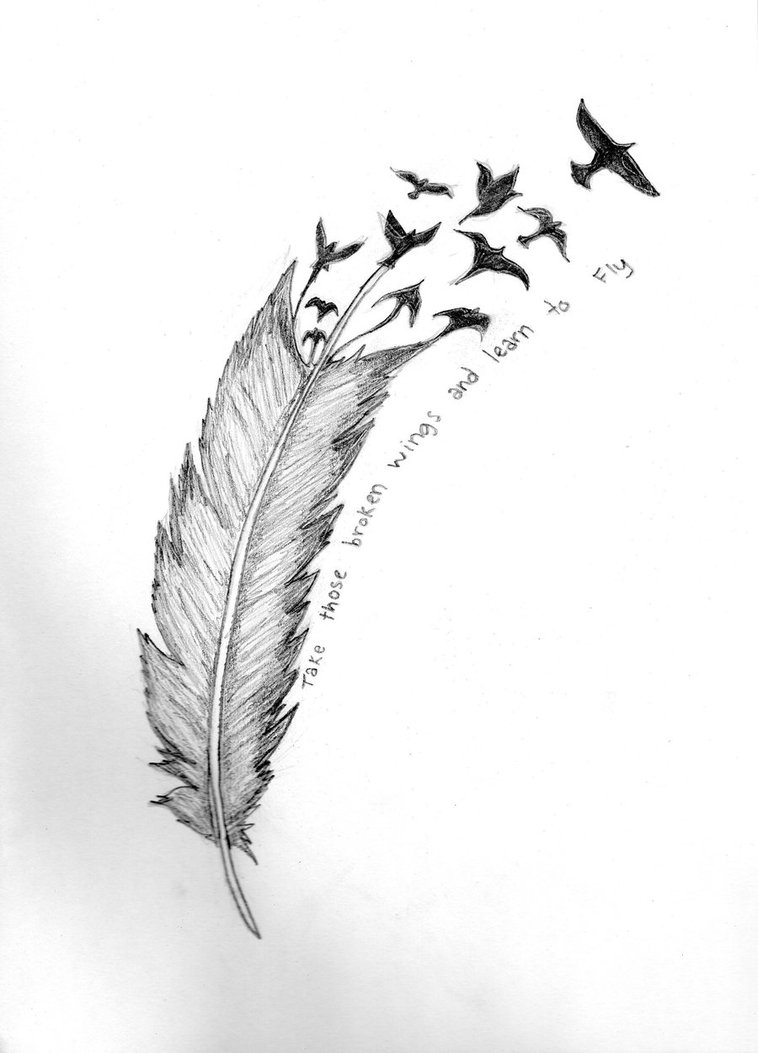 Birds Flying From Feather Tattoo Design