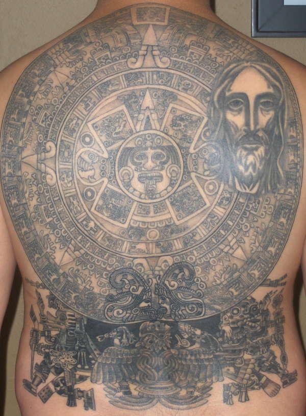 grey ink aztec tattoo on full back. Black Bedroom Furniture Sets. Home Design Ideas