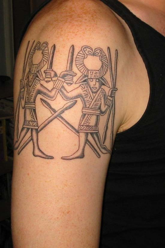 Grey Ink Aztec Tattoo On Right Shoulder
