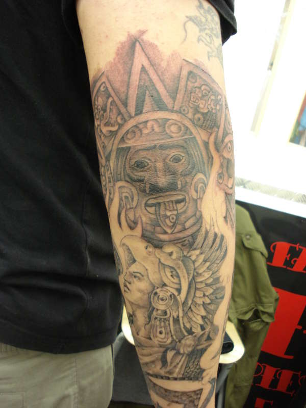 bdc0edfc82885 Grey Ink Aztec Tattoo On Right Sleeve