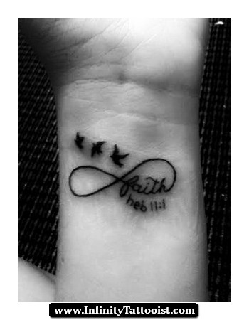 Infinity Symbol And Feather Tattoo On Wrist