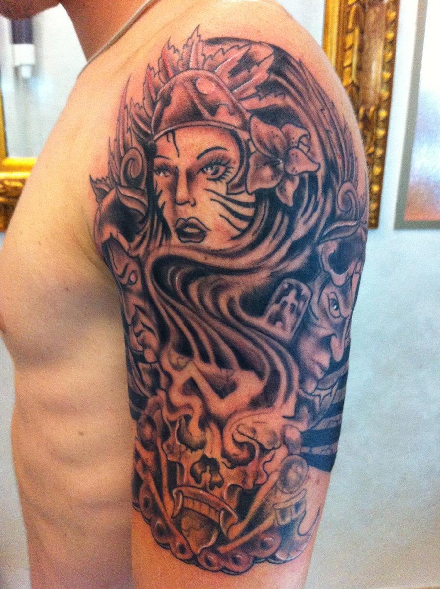 Latest Left Half Sleeve Aztec Tattoo