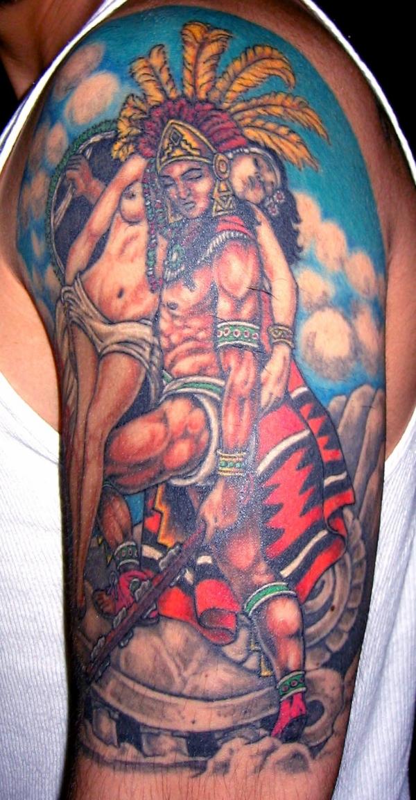 Left Half Sleeve Aztec Warriors Tattoo