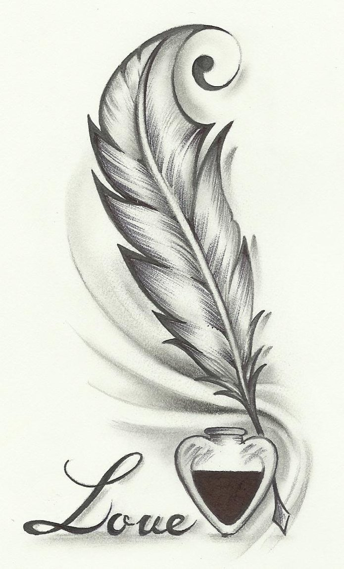 Love feather tattoo design for Love in design