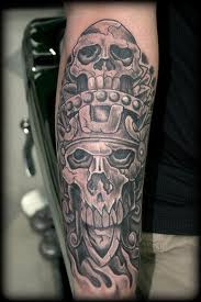 Sleeve Aztec Grey Ink Tattoo