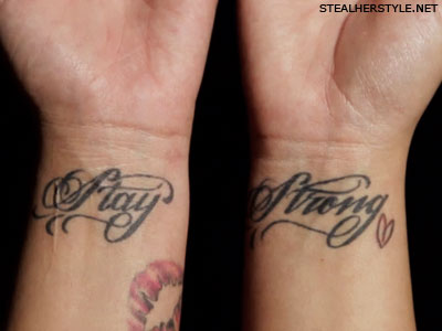 Stay Strong Feather Tattoo On Wrist