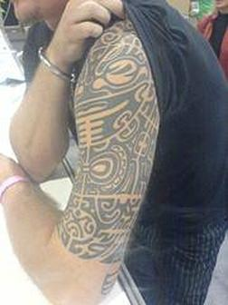Stunning Left Half Sleeve Aztec Tattoo