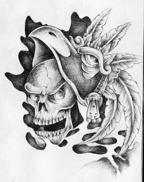 Gallery For gt Aztec Skulls Tattoo Designs