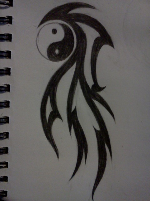 Yin Yang And Tribal Feather Tattoo Design