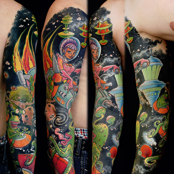 Alien Spaceships Sleeve Tattoo