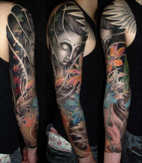 Buddhist Half Sleeve Tattoo: Amazing Religious Buddha Sleeve Tattoo
