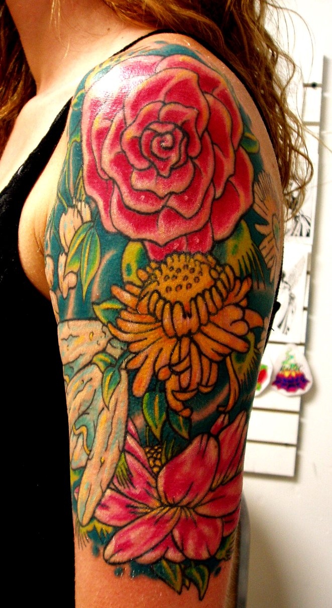 Awesome Colored Flowers Half Sleeve Tattoos