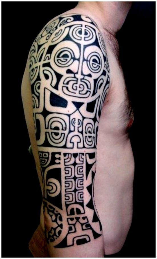 Best black ink tribal sleeve tattoo for Black tribal tattoo ink