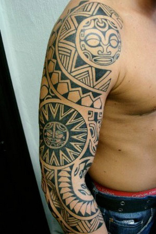 Classic Polynesian Sleeve Tattoo For Men
