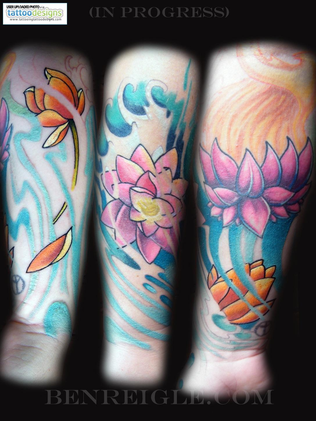 Color lotus flower tattoo on sleeve mightylinksfo