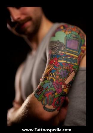 colored sleeve tattoos for men. Black Bedroom Furniture Sets. Home Design Ideas