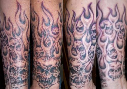 Flame Skull Sleeve Tattoos Flaming Skull Sleeve Tattoo