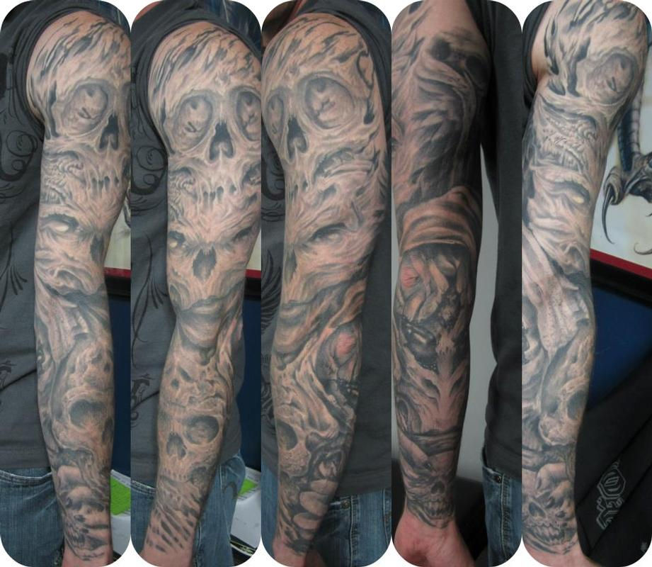 grey ink biomechanical skulls sleeve tattoos. Black Bedroom Furniture Sets. Home Design Ideas