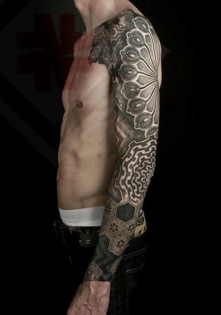 Grey ink dotwork left sleeve tattoo for men for Geometric arm tattoos for men
