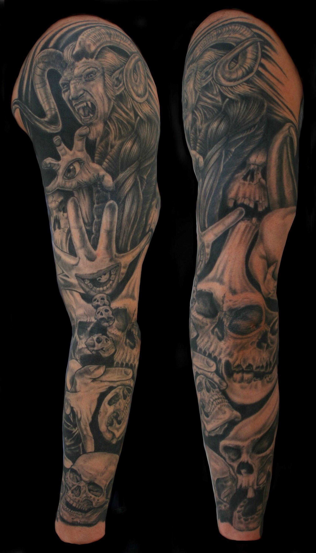 Grey ink skull and satan sleeve tattoo for Satanic tattoo designs