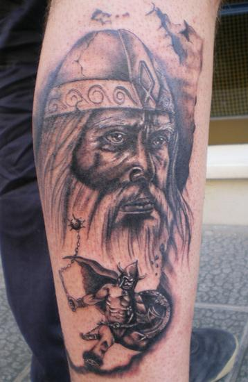 grey ink viking head sleeve tattoo. Black Bedroom Furniture Sets. Home Design Ideas