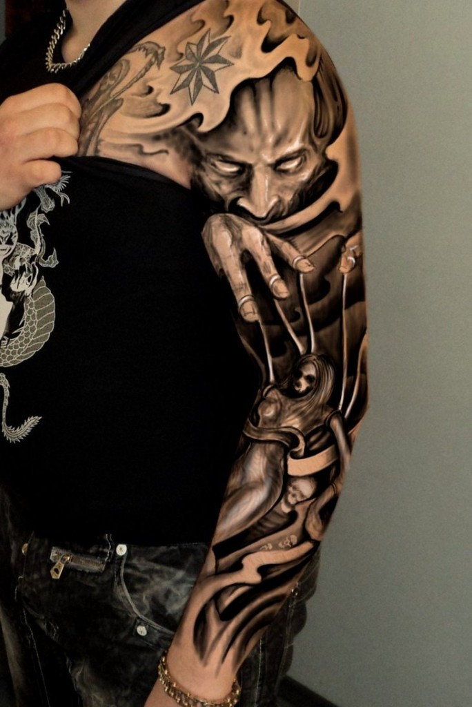 Joker Head Dark Ink Sleeve Tattoo
