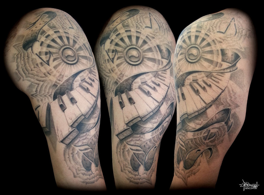 music piano keys halfsleeve tattoo. Black Bedroom Furniture Sets. Home Design Ideas