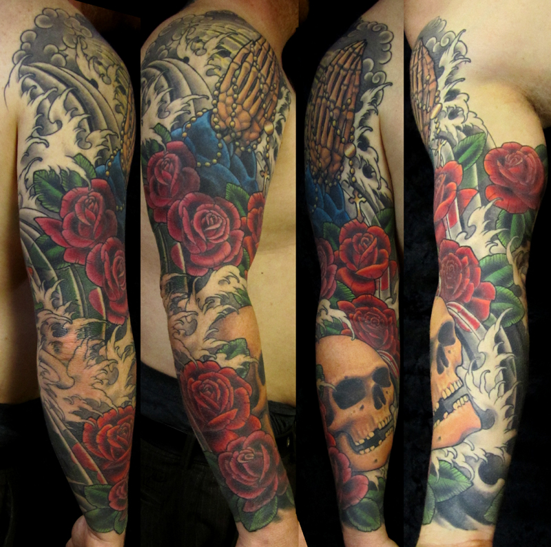 Skull And Roses Tattoo Sleeve