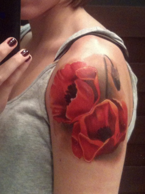 Red flower half sleeve tattoo for Red flower tattoo