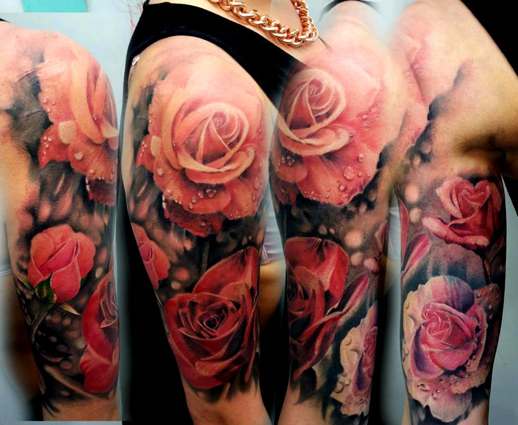 Red Flowers Sleeve Tattoo