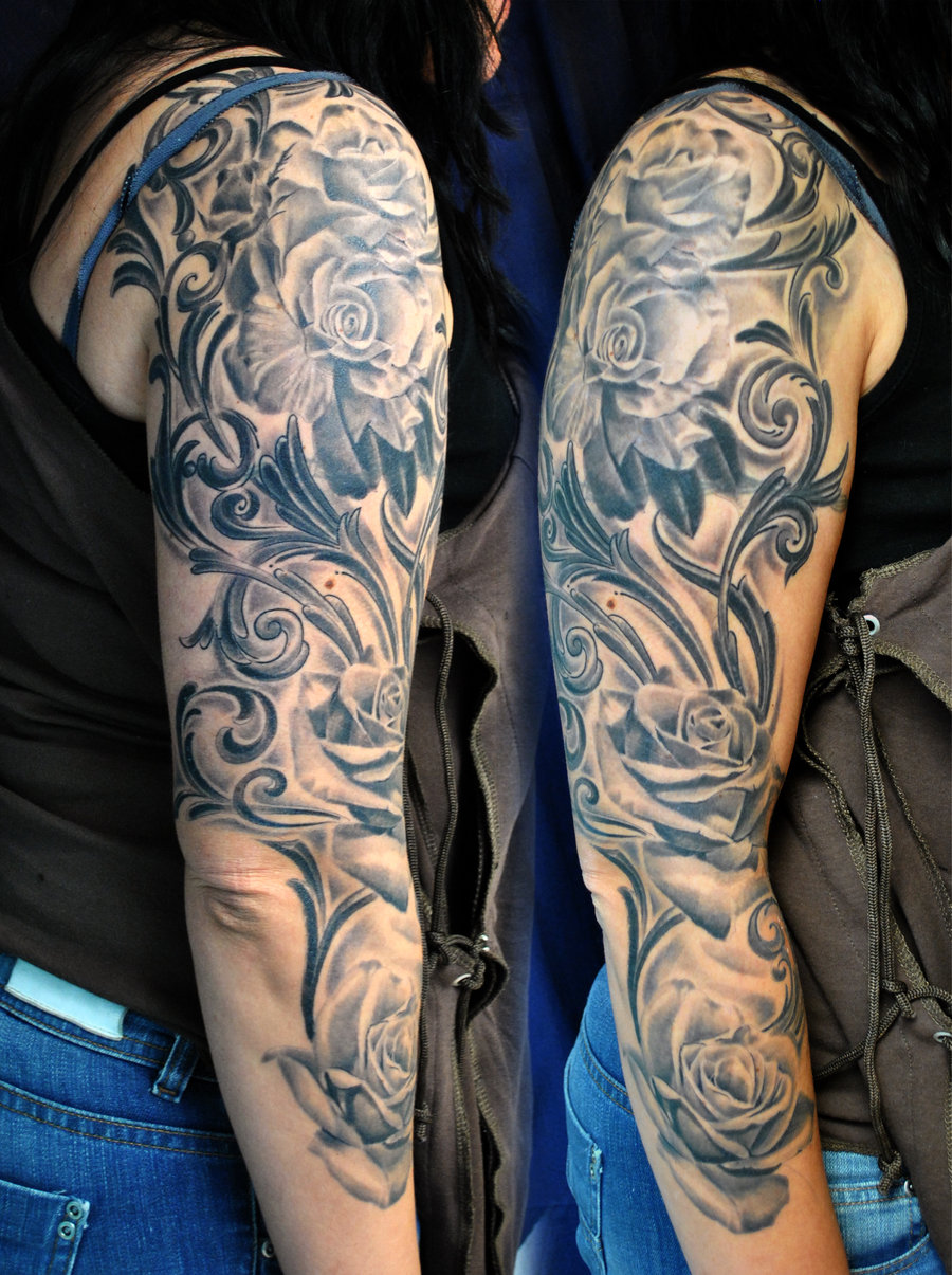 with tribal tattoo flowers And Tattoo Tribal Flowers Sleeve Rose