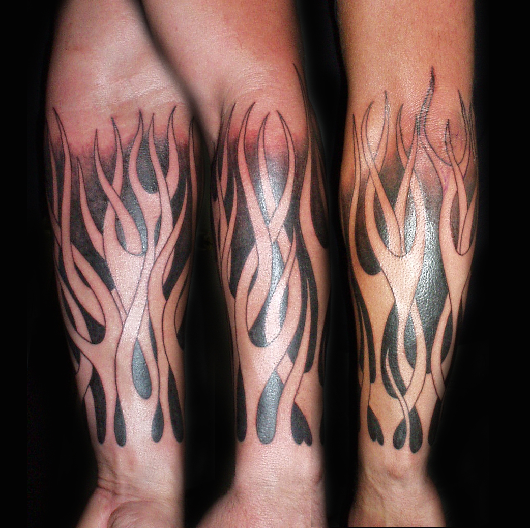 Tribal Flame Sleeve Tattoo