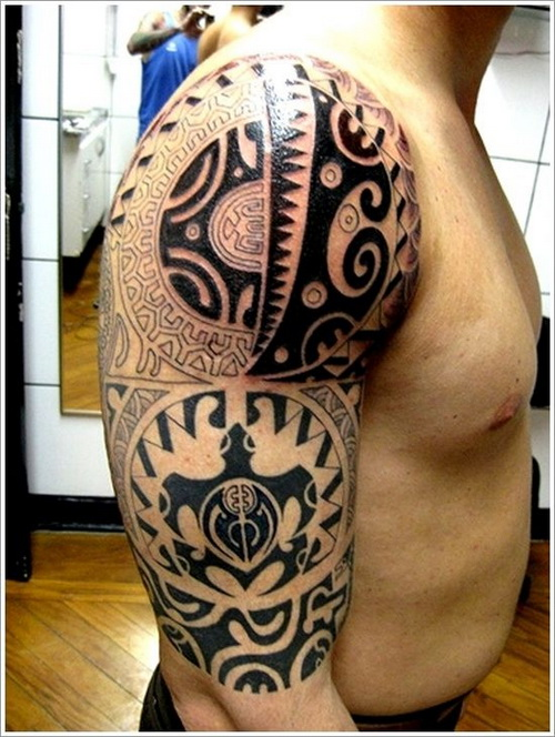 Maori Half Sleeve Tattoo: Tribal Maori Half Sleeve Tattoo