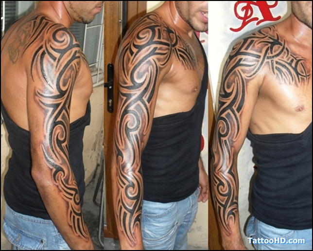 Sleeve tattoo images designs for Mens tribal sleeve tattoos