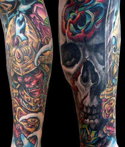 Warrior And Skull Tattoos On Sleeve