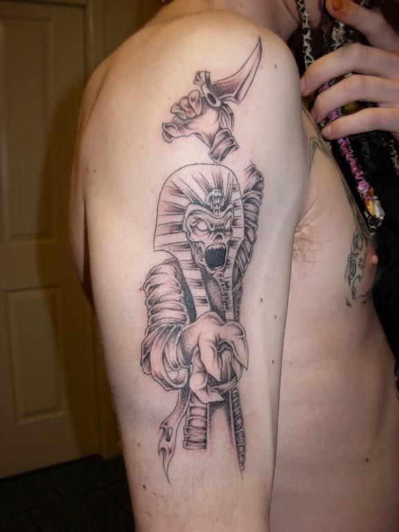 Egyptian Tattoo On Man Right Sleeve