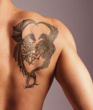 Grey Ink Egyptian Tattoo On Man Left Shoulder