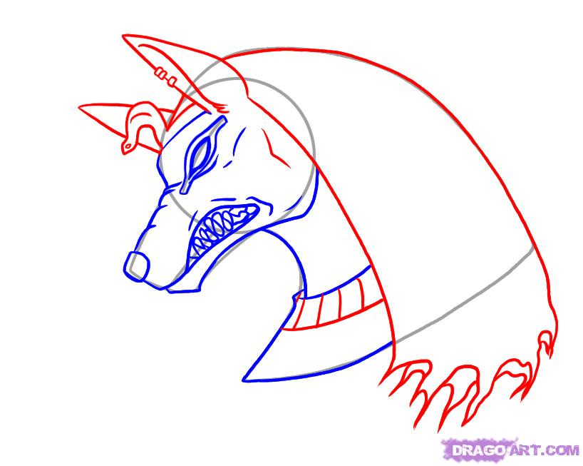 Jackal Head Tattoo Outline Egyptian Tattoo Design