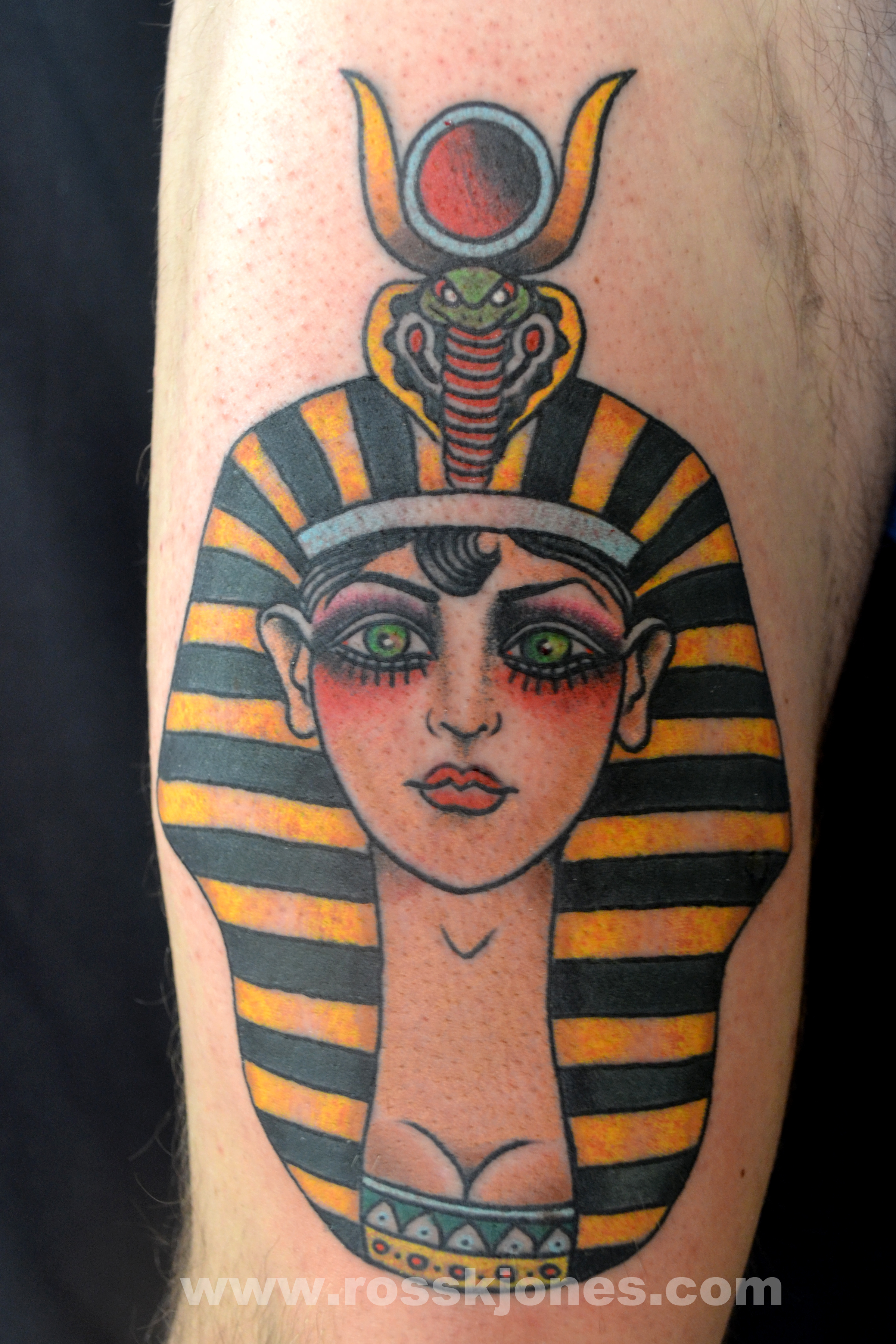 Egyptian Girl Tattoo On Half Sleeve