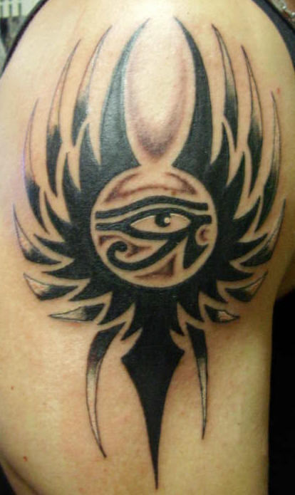 Tribal And Egyptian Eye Tattoo