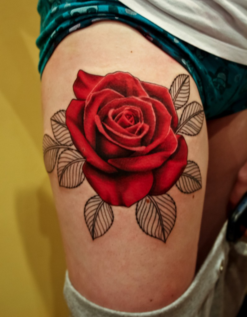 Amazing Red Rose Thigh Tattoo