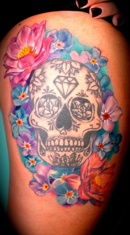 Awesome colored flowers and sugar skull thigh tattoos for Colorful thigh tattoos