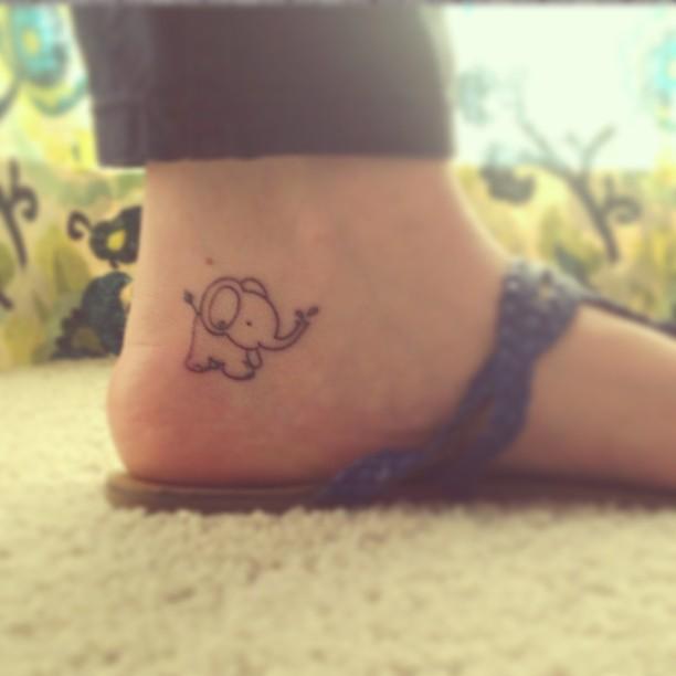 Awful outline small elephant tattoo on heel for Small elephant tattoo