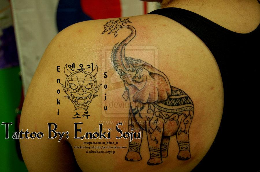 Back Shoulder Indian Elephant Indian Elephant Art Tattoo