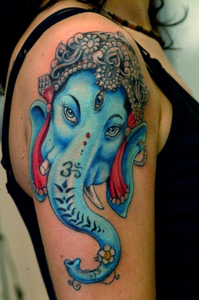 dedf5e8f6 Blue Religious Elephant Head Tattoo On Half Sleeve