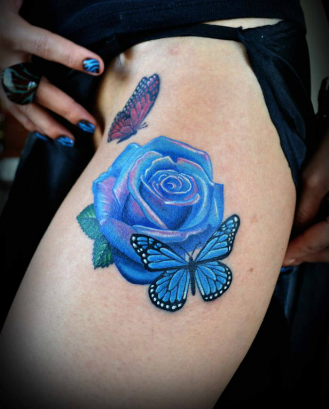 Blue Rose Thigh Tattoo For Girls