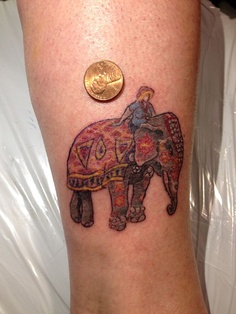 Color ink indian elephant tattoo for Indian ink tattoo