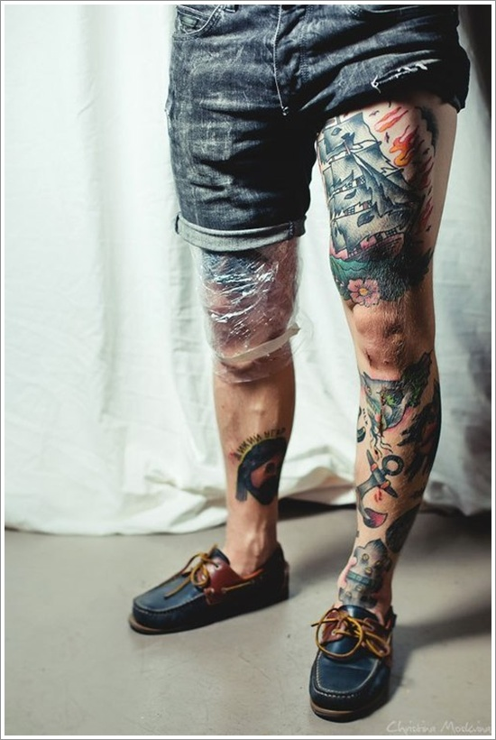 Thigh Colored Tattoos