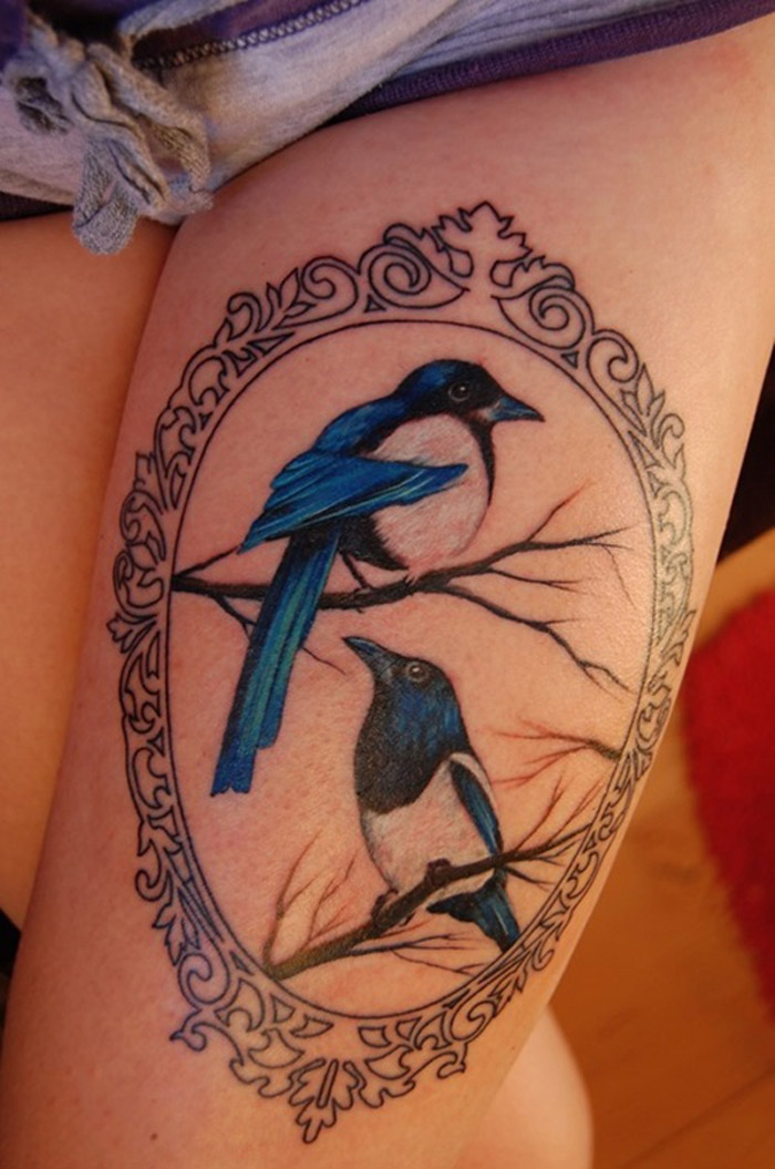 Thigh tattoo images designs for Colorful thigh tattoos