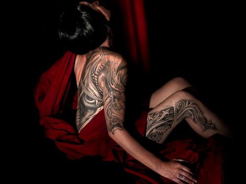 Dark Grey Thigh Tattoo For Girls
